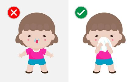 Coronavirus 2019-nCoV or Covid-19 disease prevention concept, woman sneezing cover mouth and nose with tissue before and don't do. Healthy way to safe from virus infections. Health care concept
