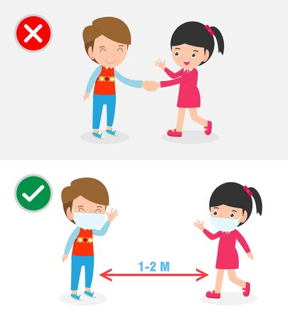 Right and Wrong ways and Prevention tips of coronavirus 2019 nCoV. no handshake and Social Distancing, safe greeting no handshake no hands contact isolated on white background vector illustration. 矢量图片
