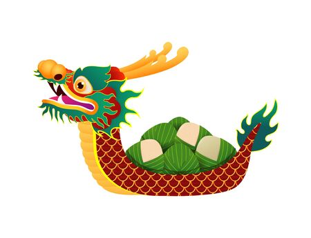 Chinese Dragon boat Race festival with rice dumplings, cute character design Happy Dragon boat festival isolated on background greeting card vector illustration.
