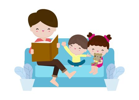 father reading fairy tales to his son and daughter, family, reading and telling book fairy tale story, Kids Listening to Their dad Tell a Story, Vector Illustration on white background