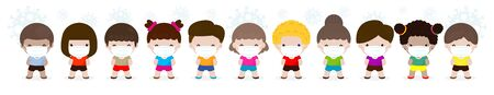 Coronavirus 2019-nCoV or Covid-19 disease prevention concept with group of cute kids boy and girl wearing face mask isolated on white background vector illustration  イラスト・ベクター素材