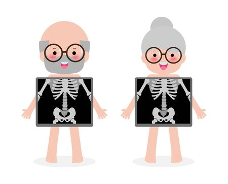 cute cartoon Senior Couple with x-ray screen showing internal organs and skeleton. x ray check bones Old people, Element of educational infographics  Vector illustration isolated on white background