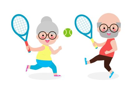 Vector Illustration Of Happy cute senior couple playing tennis outdoors isolated on white background Elderly people with sports equipment