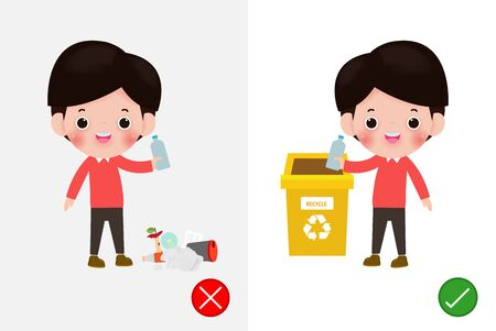 Do not throw littering butts on the floor,wrong and right, male character that tells you the correct behavior to recycle. background vector illustration