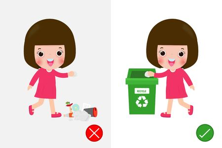 Do not throw littering butts on the floor,wrong and right, female character that tells you the correct behavior to recycle. background vector illustration