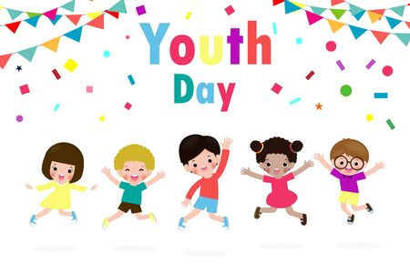 happy youth day Teen people group of diverse girls and boys jumping together in flat style Template for advertising brochure poster isolated on white background vector illustration Иллюстрация
