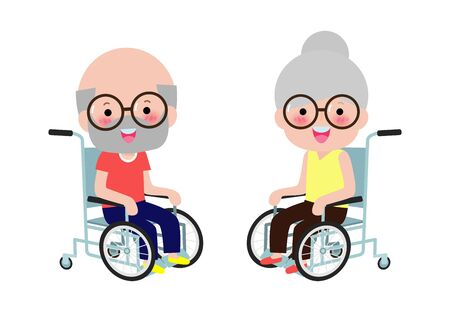 Cute disabled senior couple sitting in a wheelchair, Handicapped person. Colorful flat style cartoon vector illustration isolated on white background Ilustracja