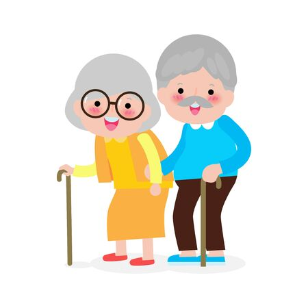 elderly couple holding hands, Happy grandparents, old people, senior in cartoon style isolated on white background Vector illustration