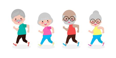 group of cartoon running old woman, man. Cartoon character. Old people activity. Vector gym or outdoor healthy lifestyle. Sport adult old people exercising  on white background Vector Illustration Иллюстрация