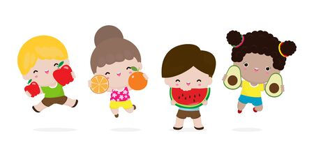 Group of Happy kids jumping and fruits, Cute cartoon children eating avocado, apple, watermelon, orange, child holding smiling live fruits, Healthy food in the farm isolated on white background 일러스트