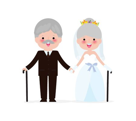 Wedding of elderly people concept. Senior man and woman in love.  Cute old couple valentine day. Golden wedding  isolated on white background Vector Illustration.