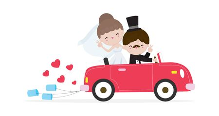 just married couple in wedding car, bride and groom on a roadtrip in car  after wedding ceremony , cartoon married character design isolated on white background Vector Illustration.
