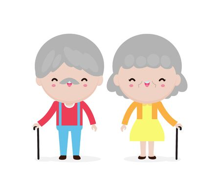 cute elderly couple portrait, Happy grandparents, old people, senior in cartoon style isolated on white background Vector illustration Illustration