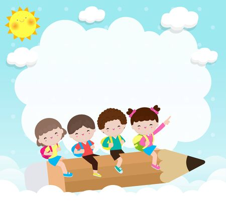 Back to school, group of cartoon Children flying on pencil, kids riding big pencil in the sky, education concept poster vector illustration isolated on background Illustration