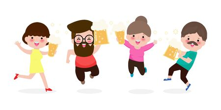 group man and woman character jumping and dancing. Happy international beer day concept isolated on white background. friday party Vector illustration in flat