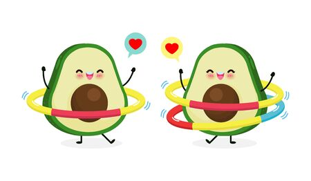 Cute cartoon avocado couple doing exercises. Weight loss concept, Eating healthy food and fitness, Funny fruit character sport isolated on white background vector illustration