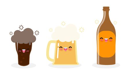 Funny mug of beer and beer bottle, dark beer cute cartoon characters Happy international beer day or friday party concept isolated on white background Vector illustration in flat style 向量圖像
