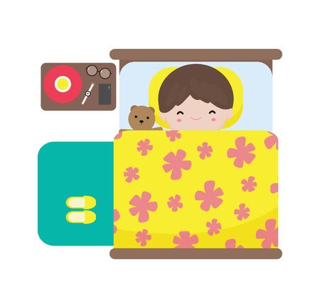 cute little boy kids sleeping in bed, happy children sleep in bed, good night, daily routine concept, isolated on white background vector illustration in flat style