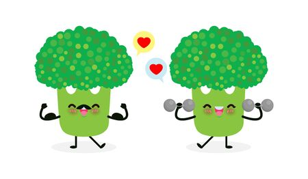 Cute happy broccoli doing exercises with dumbbells and strong broccoli show muscle.Eating healthy food and fitness, Funny vegetable character sport concept isolated on white background vector