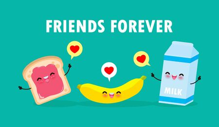 with banana, Breakfast Funny characters Best friends Concept food and drink with friends forever poster Isolated on white background vector Illustration in flat style