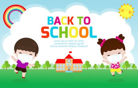 Back to school for new normal lifestyle concept. happy kids jumping wearing face mask protect corona virus or covid 19, template children go to school isolated on poster background Vector illustration