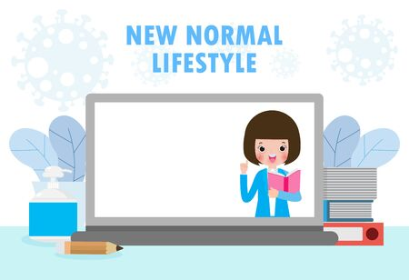 Back to school for new normal lifestyle, Laptop presenting online education during Coronavirus 2019-nCoV or covid-19. stay home and study. e-learning or e-book concept. isolated on background vector Illustration