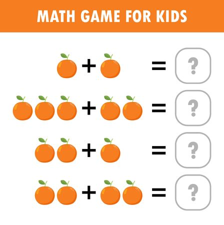 Mathematics educational game for children. Learning counting, addition worksheet for kids. math Addition Subtraction Puzzle fruit orange Trick Question Solve Flat Vector Illustration