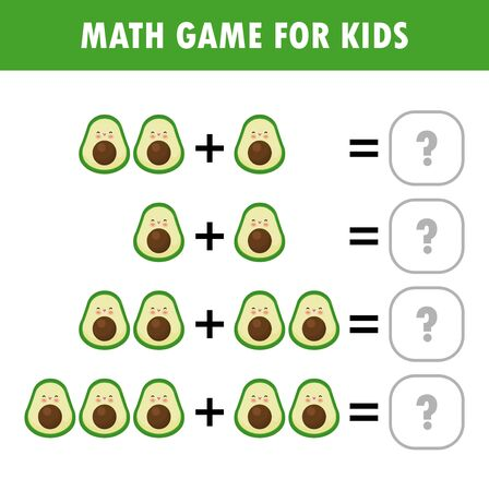 Mathematics educational game for children. Learning counting, addition worksheet for kids. math Addition Subtraction Puzzle fruit avocado Trick Question Solve Flat Vector Illustration