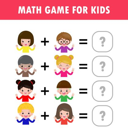 Mathematics educational game for children Learning counting, addition worksheet for kids. math Addition Subtraction Puzzle kids showing numbers by fingers Trick Question Solve Flat Vector Illustration