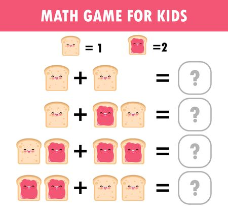 Mathematics educational game for children Learning counting, addition worksheet for kids. math Addition Subtraction Puzzle toast food Funny Breakfast Trick Question Solve Flat Vector Illustration Illusztráció