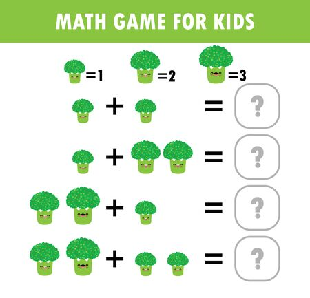 Mathematics educational game for children. Learning counting, addition worksheet for kids. math Addition Subtraction Puzzle broccoli vegetable Trick Question Solve Flat Vector Illustration