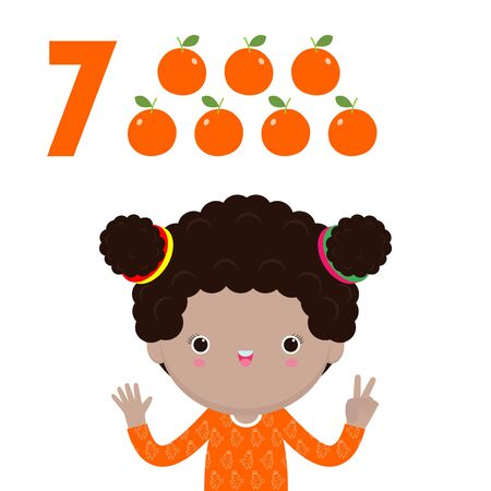 happy children with hand showing the number seven, cute kids showing numbers 7 by fingers. little child study math number count fruit Education concept, learning material isolated vector illustration