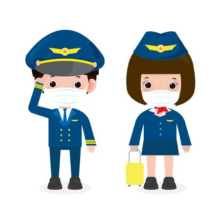 new normal lifestyle concept. pilot and stewardess wearing face mask protect coronavirus covid-19, officers and flight attendants pilot and air hostess isolated on white background vector illustration Stock Illustratie