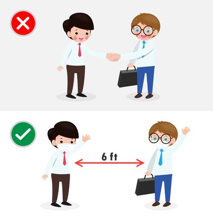 business people with Right and Wrong ways and Prevention tips of coronavirus 2019 nCoV. no handshake and Social Distancing, safe greeting no handshake no hands contact isolated on white background