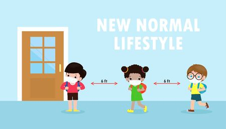 Back to school for new normal lifestyle banner concept. happy kids wearing face mask and social distancing protect coronavirus covid 19, group of children keep distance when waiting get in class room Vector Illustratie