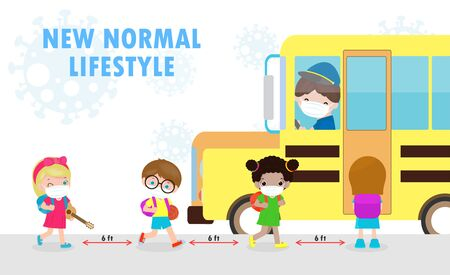 new normal lifestyle concept Back to school, happy cute diverse Kids and Different nationalities wearing medical masks at the bus stop during Coronavirus or covid-19. Social distancing, outbreak