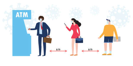 New normal and social distancing concept. diverse People Different nationalities wearing medical masks and keep distance at atm queues to protect Coronavirus or COVID-19 flat style vector illustration