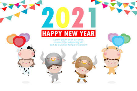 Happy New Year 2021 kids background, cute kids wearing cow animal costumes isolated on background, Little children in their ox Animal Costumes, cute child in cosplay the year of the ox Vector Stock Illustratie