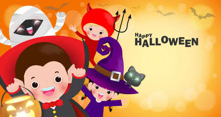 Happy Halloween Kids Costume Party banner, Group of children in Halloween cosplay. Template for advertising brochure. party poster and theme design background Vector Illustration