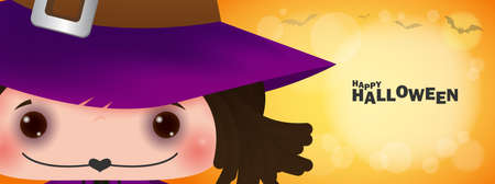 Happy halloween banner, Cute little witch in the bokeh moonlight,  halloween trick or Treating poster background, Template for advertising brochure Vector Illustration. Stock Illustratie