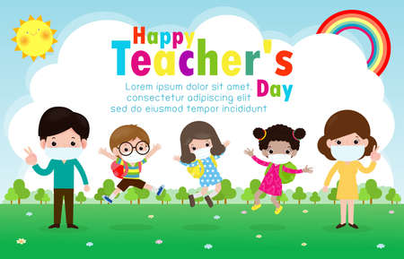 Happy teachers day poster for new normal lifestyle concept. happy students kids and teachers wearing face mask protect corona virus or covid 19 at the school isolated on white background illustration Stock Illustratie