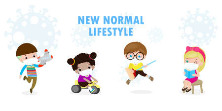 New normal lifestyle concept After Coronavirus outbreak, kids wearing medical mask with toy and social distancing character cartoon isolated on white background design vector illustration