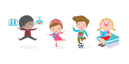 Set of school kids in education concept, back to school template with children, child go to school, back to school isolated on white background Vector Illustration.