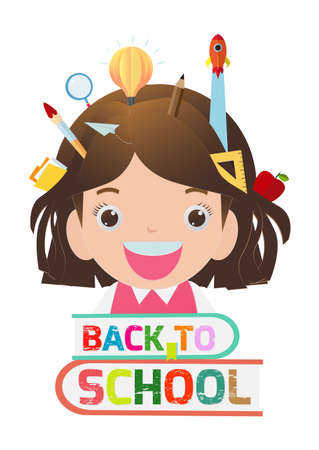 Back to school banner back to school, kids school, education concept, children go to school, Paper cut and craft and Paper art style,Origami. Template isolated on white background vector illustration