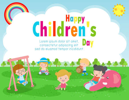 Happy Children's day poster with happy kids greeting card background vector illustration International Children's Day design Stock Illustratie