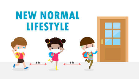 Back to school for new normal lifestyle banner concept. happy kids wearing face mask and social distancing protect coronavirus covid 19, group of children keep distance when waiting get in class room