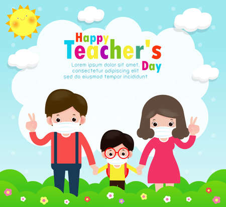 Happy teachers day poster for new normal lifestyle concept. happy students kids and teachers wearing face mask protect virus or covid 19 at the school isolated on white background illustration