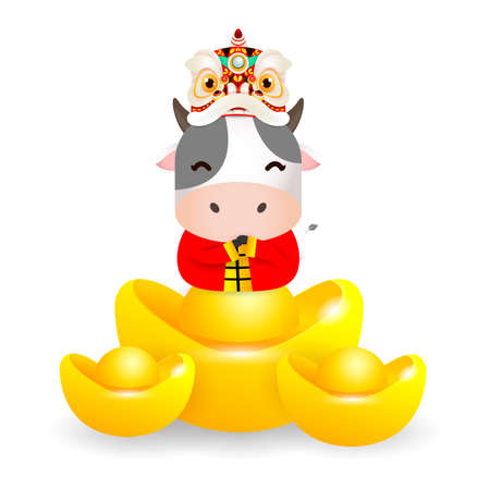 Happy Chinese new year 2021, cute Little cow with Lion Dance Head holding Chinese gold, the year of the ox zodiac, Cartoon illustration isolated on white background.