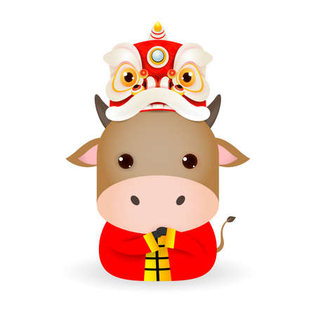Happy Chinese new year 2021 year of the ox zodiac, cute Little cow with Lion Dance Head, Cartoon vector illustration isolated on white background.