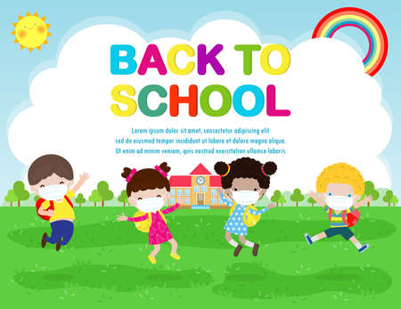 Back to school for new normal lifestyle concept. happy group of kids wearing face mask and social distancing protect coronavirus covid 19, children and friends go to school isolated on background